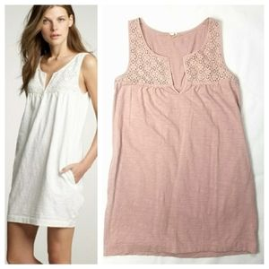J. Crew Pointelle Lace Cotton Tunic Shift Dress